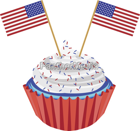 4th of july cupcake with flag