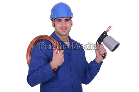 plumber with a blowtorch