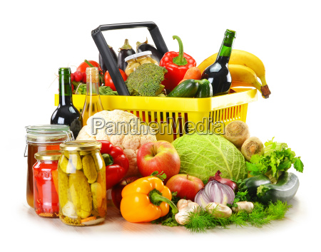 plastic shopping basket and grocery isolated