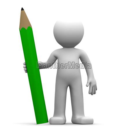 3d charakter mit gruenen stift