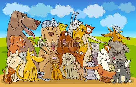 gruppe katzen und hunde
