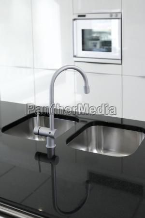küchenarmatur, und, ofen, modernen, schwarz-weiß - 7072473