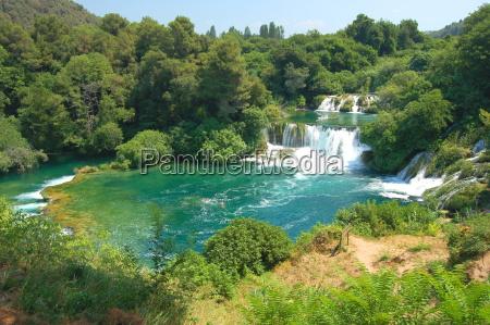 park sommer sommerlich wasserfall kroatien kaskade