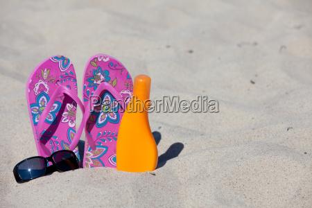 bathing slats stuck in the sand