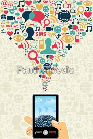 social media cell phone concept