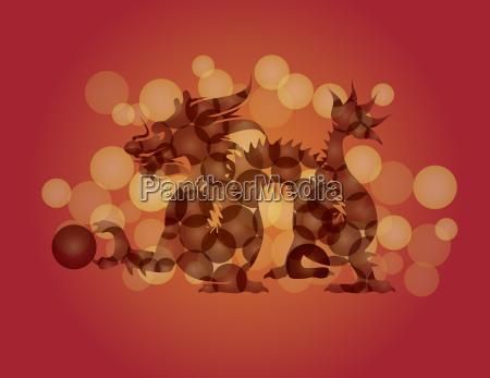chinesenew year dragon with ball illustration
