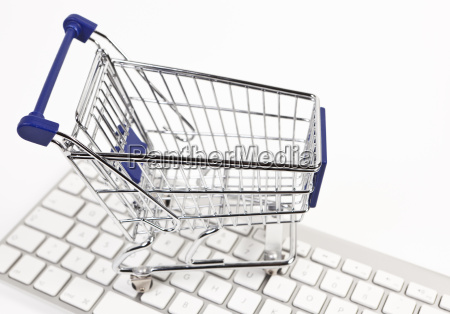 shopping cart on keyboard