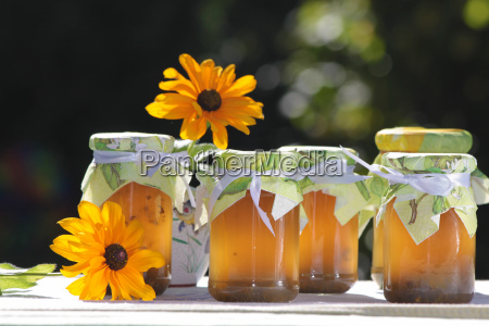homemade jellies with flowers
