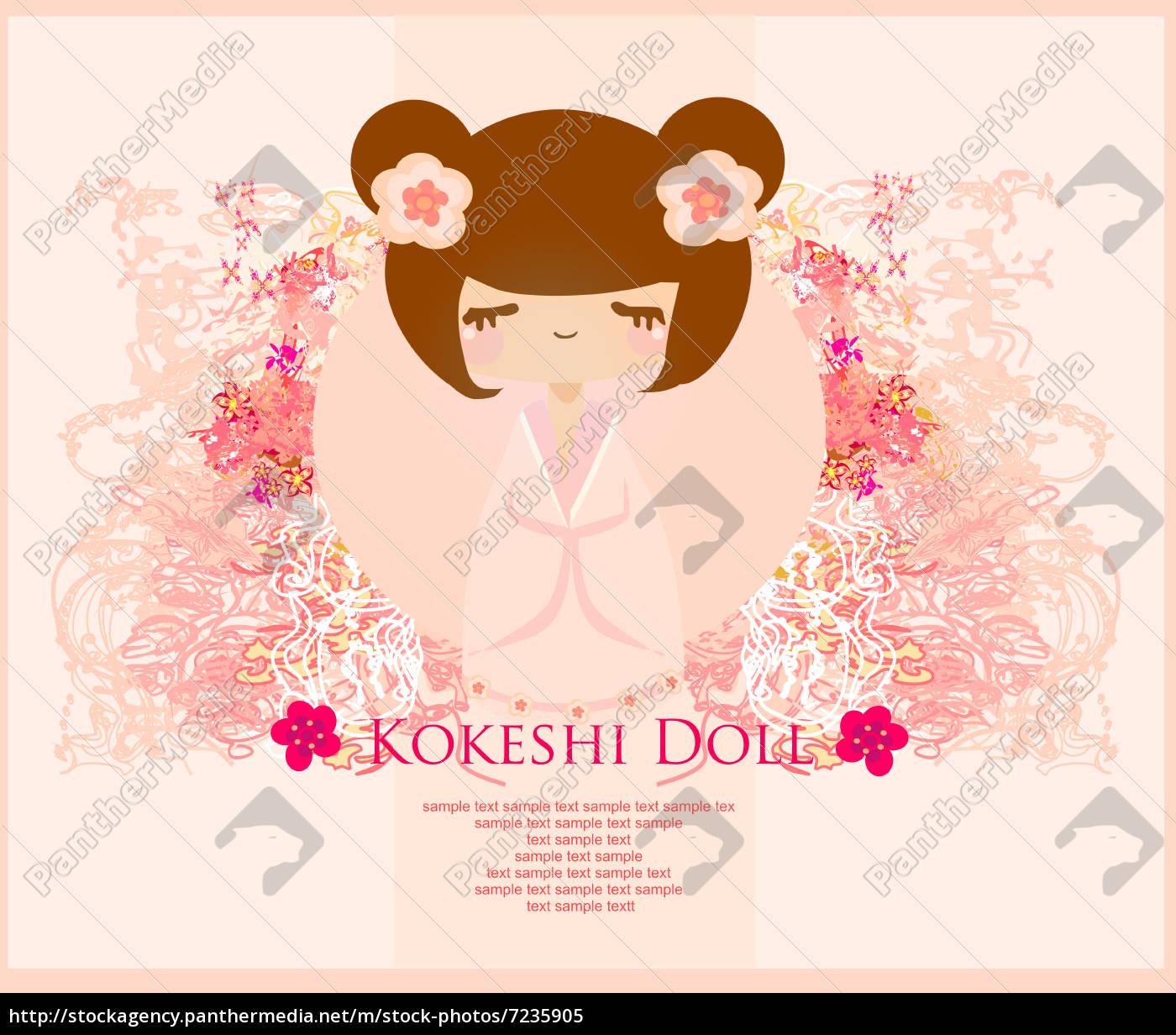kokeshi, puppe, auf, dem, rosa, hintergrund - 7235905