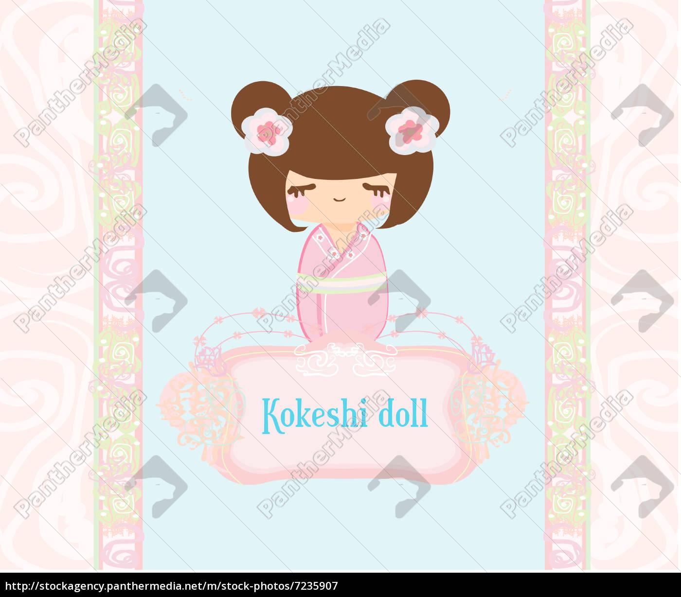 kokeshi, puppe, auf, dem, rosa, hintergrund - 7235907