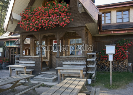 entrance of a wooden house