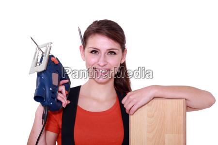 portrait of a young woman laborer