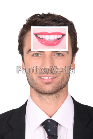businessman with a photo of a