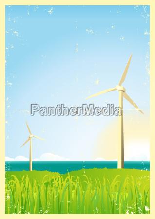 grunge windmills in the ocean