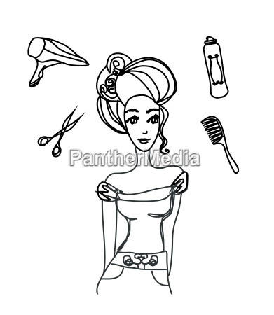 frauen im friseursalon doodle illustration