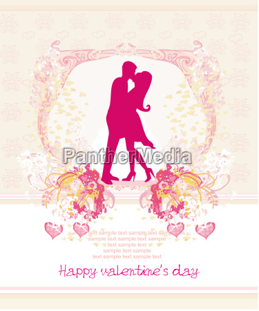 floral greeting card with silhouette of