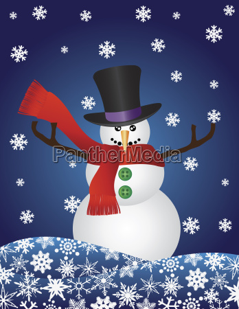 christmas snowman with snowflakes illustration