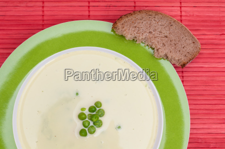 pea soup and a slice of