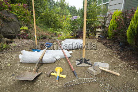 excavating and laying pavers for garden