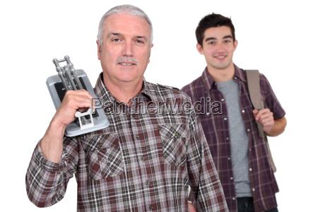 tiler and a young man