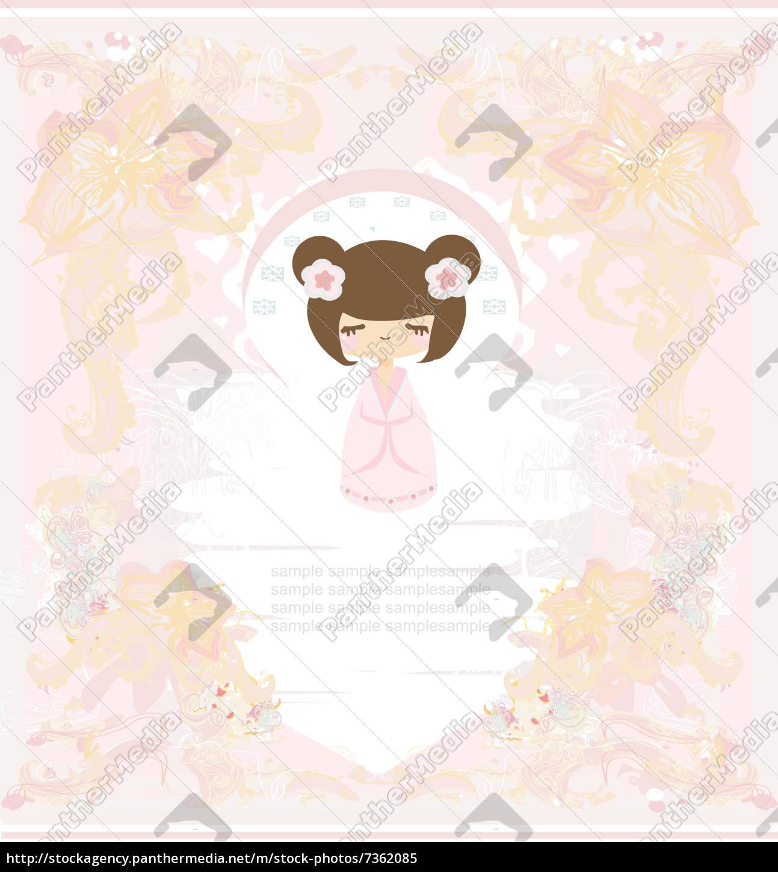 kokeshi, puppe, auf, dem, rosa, hintergrund - 7362085