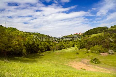 thuringian landscape with leuchtenburg
