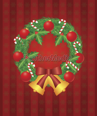 christmas wreath with ornaments bells and
