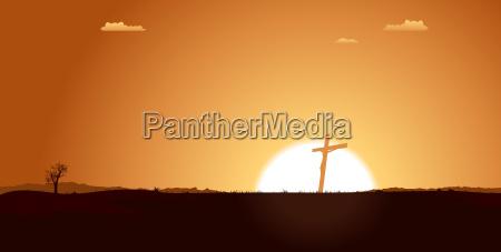christian cross inside desert landscape