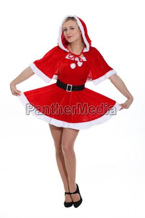 blonde lady dressed as miss santa