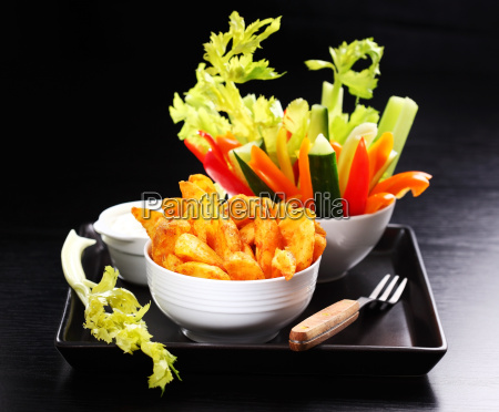wedges with raw vegetable and dip