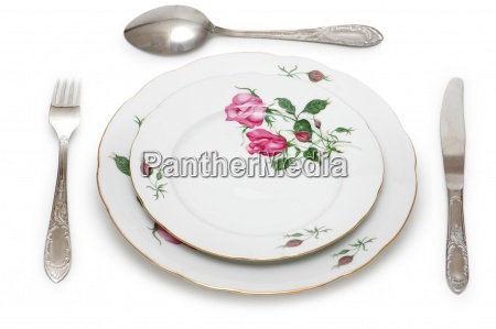 plate and table utensils isolated on