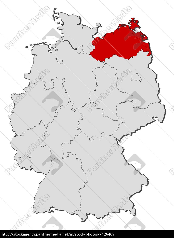 Karte Mv Kostenlos.Lizenzfreies Bild 7426409 Karte Von Deutschland Mecklenburg Vorpommern Markiert
