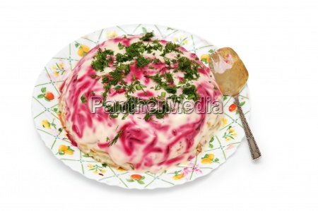 plate with cabbage salad isolated on