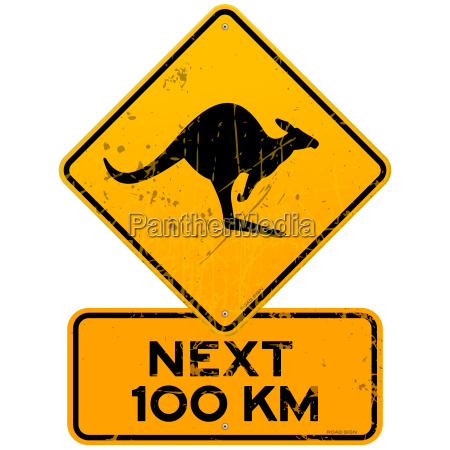 roadsign kangaroos next 100 km