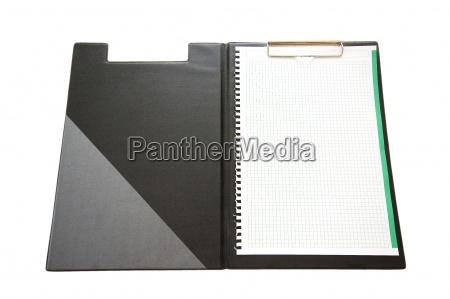 offene dokumentenmappe mit leeren blatt papier