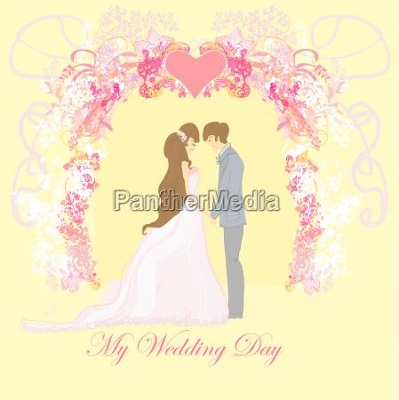 elegant wedding invitation with wedding couple