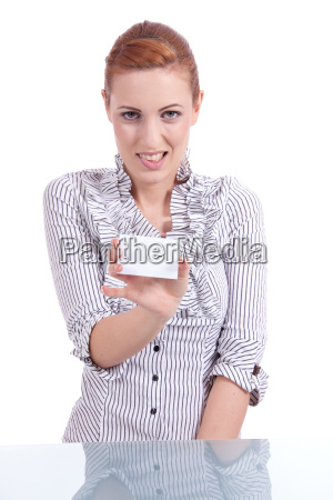 pretty young woman holding a business