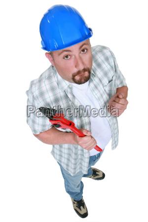 full length construction worker