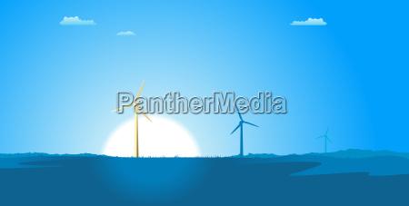 spring windmills landscape