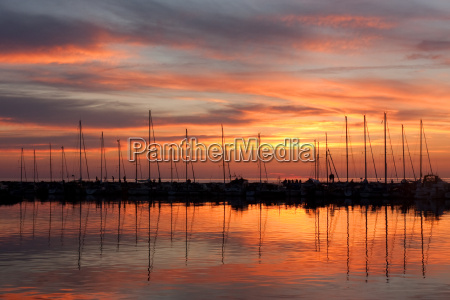 sunset on the baltic sea at