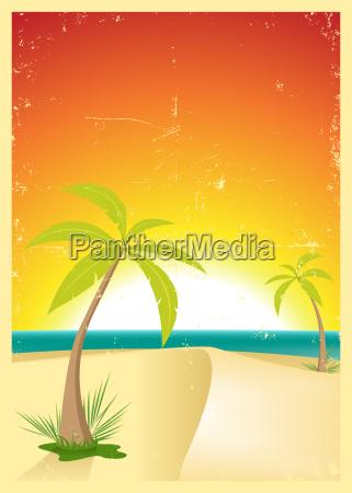exotic beach grunge postcard