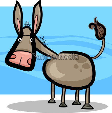 cartoon illustration of cute donkey