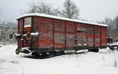 old railway car at winter time