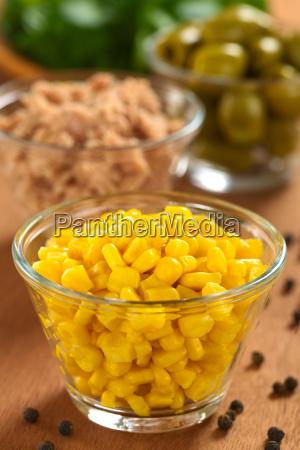 sweet corn in glass bowl