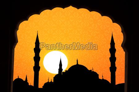 sonnenuntergang am halga sophia blaue moschee