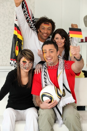 group of friends supporting the german