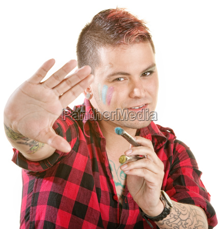 painter in flannel shirt