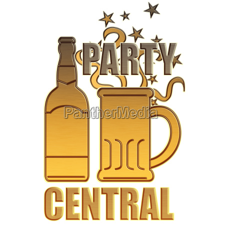 golden beer bottle mug party central
