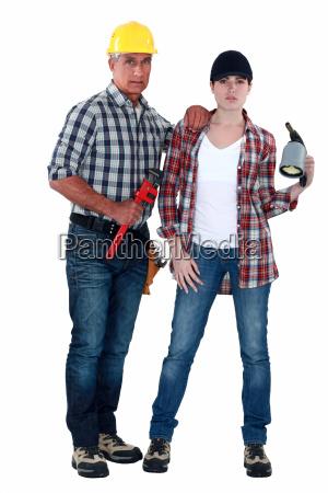 male and female plumbers