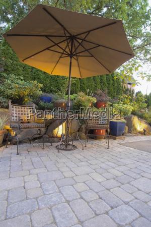 garten, terrasse, tisch, und, stühle, mit - 7656710